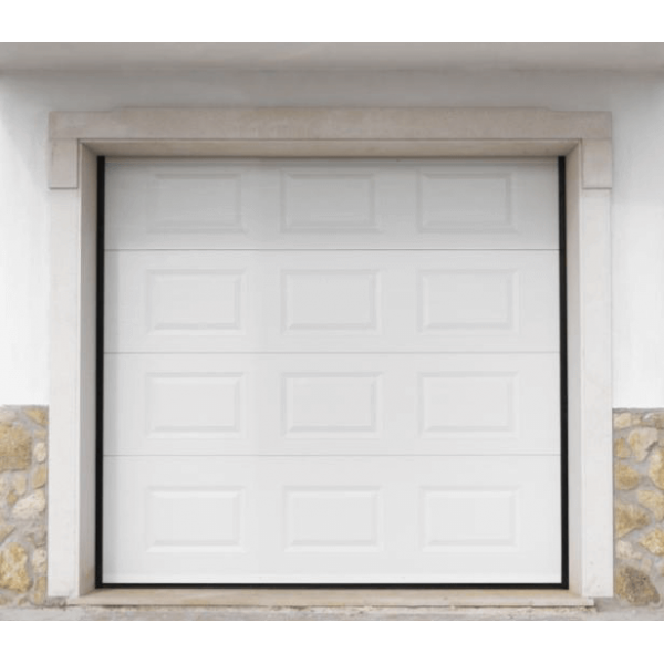 Porte de garage sectionnelle motoris e finition blanc cassettes ral 9010 - Porte de garage sectionnelle ...