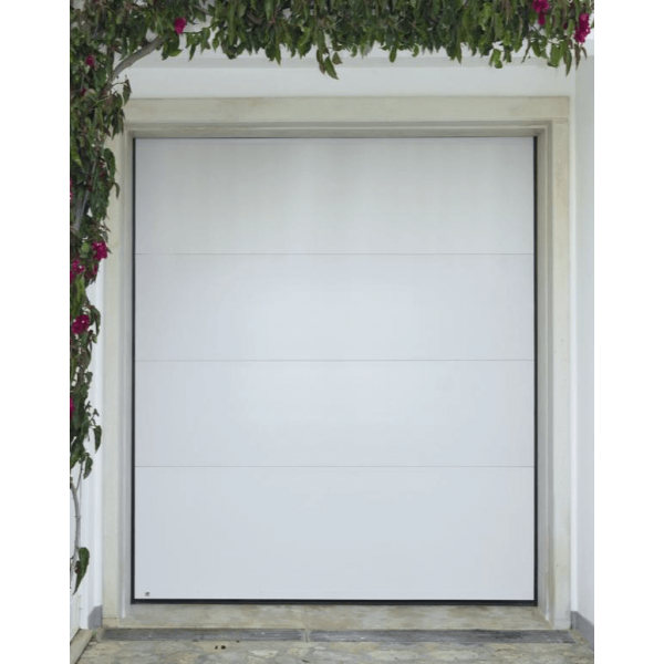 Porte de garage sectionnelle motoris e finition blanc avec for Porte de garage linteau reduit