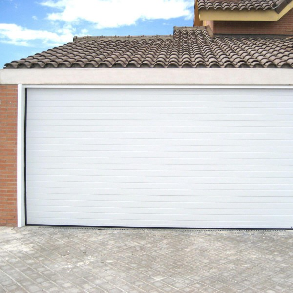 Porte de garage sectionnelle motoris e finition blanc rainur 9010 - Porte de garage discount ...